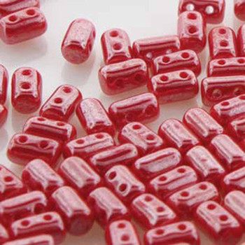 Rulla Opaque Coral Red White Luster Czech Glass Seed Beads 3x5mm 20 Gram Tube (2 Hole) Rul3593200-14400-Tb