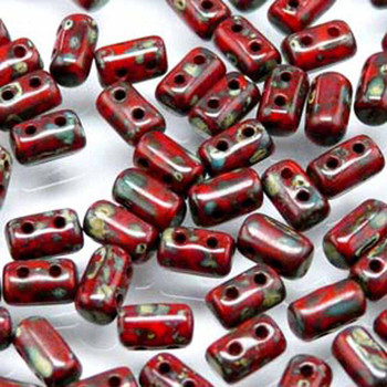 Rulla Opaque Coral Red Travertine Dark Czech Glass Seed Beads 3x5mm 20 Gr Rul3593200-86805-Tb