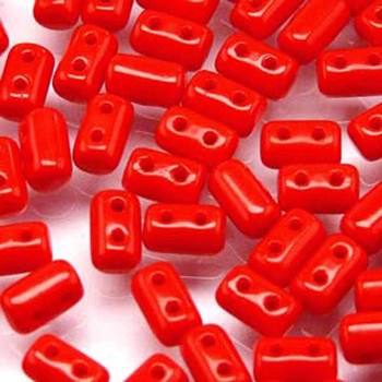 Rulla Opaque Coral Red Czech Glass Seed Beads 3x5mm 20 Gram Tube (2 Hole) Rul3593200-Tb
