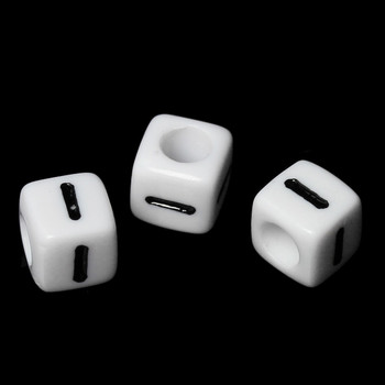 """100 Letter """"I"""" Black On White Acrylic Alphabet Cube Spacer Beads 6mm Approx 1/4 Inch Rb58829"""
