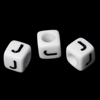"""100 Letter """"J"""" Black On White Acrylic Alphabet Cube Spacer Beads 6mm Approx 1/4 Inch Rb58830"""