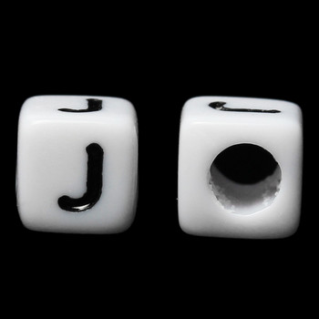 "100 Letter ""J"" Black on White Acrylic Alphabet Cube Spacer Beads 6mm Approx 1/4 Inch"
