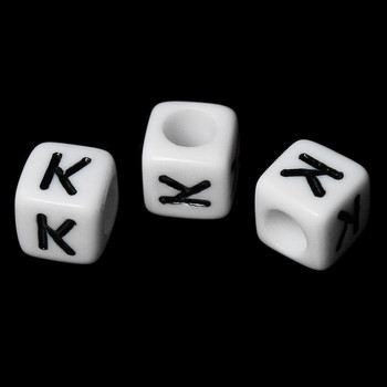 """100 Letter """"K"""" Black On White Acrylic Alphabet Cube Spacer Beads 6mm Approx 1/4 Inch Rb58831"""