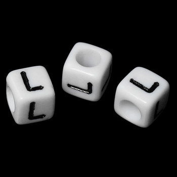 """100 Letter """"L"""" Black On White Acrylic Alphabet Cube Spacer Beads 6mm Approx 1/4 Inch Rb58832"""