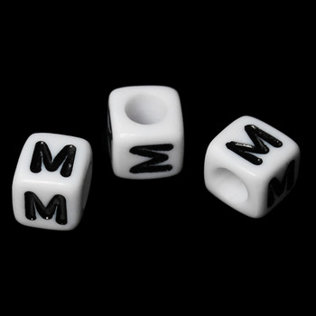 """100 Letter """"M"""" Black On White Acrylic Alphabet Cube Spacer Beads 6mm Approx 1/4 Inch Rb58833"""