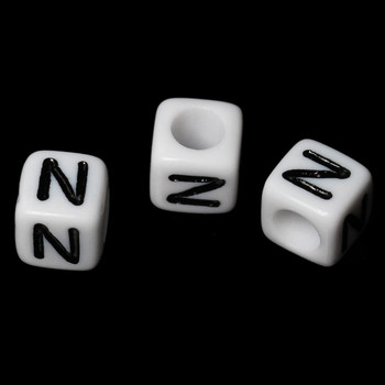 """100 Letter """"N"""" Black On White Acrylic Alphabet Cube Spacer Beads 6mm Approx 1/4 Inch Rb58834"""