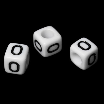 """100 Letter """"O"""" Black On White Acrylic Alphabet Cube Spacer Beads 6mm Approx 1/4 Inch Rb58835"""