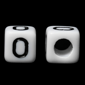 "100 Letter ""O"" Black on White Acrylic Alphabet Cube Spacer Beads 6mm Approx 1/4 Inch"
