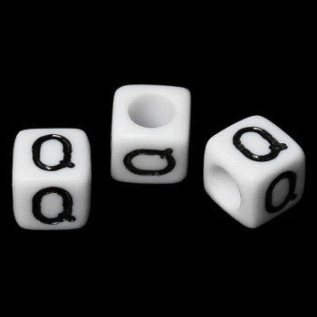 """100 Letter """"Q"""" Black On White Acrylic Alphabet Cube Spacer Beads 6mm Approx 1/4 Inch Rb58837"""