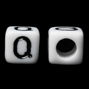"100 Letter ""Q"" Black on White Acrylic Alphabet Cube Spacer Beads 6mm Approx 1/4 Inch"