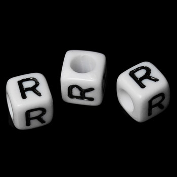 """100 Letter """"R"""" Black On White Acrylic Alphabet Cube Spacer Beads 6mm Approx 1/4 Inch Rb58838"""