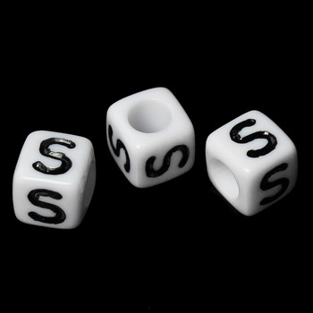 """100 Letter """"S"""" Black On White Acrylic Alphabet Cube Spacer Beads 6mm Approx 1/4 Inch Rb58839"""