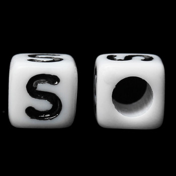 "100 Letter ""S"" Black on White Acrylic Alphabet Cube Spacer Beads 6mm Approx 1/4 Inch"