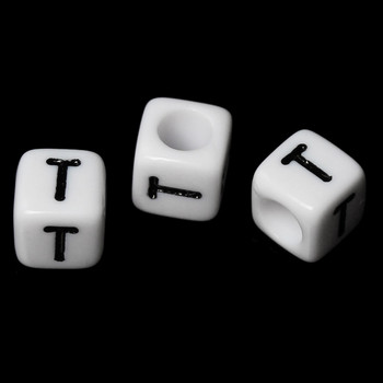 """100 Letter """"T"""" Black On White Acrylic Alphabet Cube Spacer Beads 6mm Approx 1/4 Inch Rb58840"""
