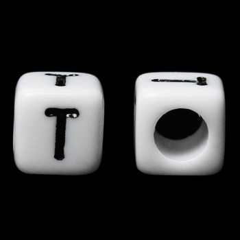 "100 Letter ""T"" Black on White Acrylic Alphabet Cube Spacer Beads 6mm Approx 1/4 Inch"