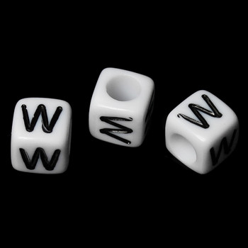 """100 Letter """"W"""" Black On White Acrylic Alphabet Cube Spacer Beads 6mm Approx 1/4 Inch Rb58843"""