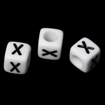 """100 Letter """"x"""" Black On White Acrylic Alphabet Cube Spacer Beads 6mm Approx 1/4 Inch Rb58844"""