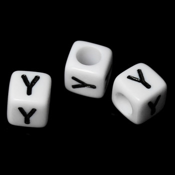 "100 Letter ""Y"" Black On White Acrylic Alphabet Cube Spacer Beads 6mm Approx 1/4 Inch Rb58845"
