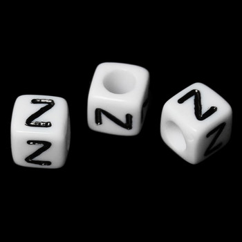 """100 Letter """"Z"""" Black On White Acrylic Alphabet Cube Spacer Beads 6mm Approx 1/4 Inch Rb58846"""