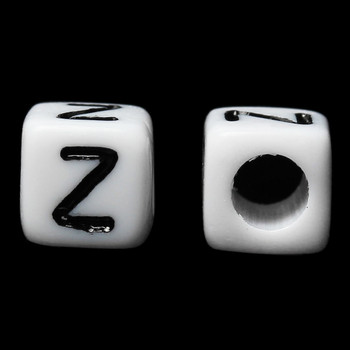 "100 Letter ""Z"" Black on White Acrylic Alphabet Cube Spacer Beads 6mm Approx 1/4 Inch"