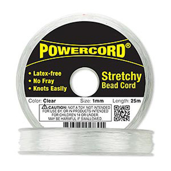 Powercord Elastic stretch Cord Clear 1mm 14-Lb Test 25-Meter Latex-Free 1708Bs