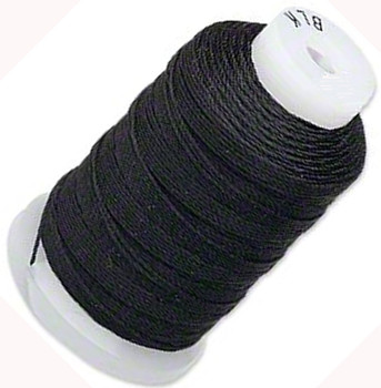 Silk Beading Thread Cord Size FFF (0.016 Inch 0.42mm) Spool 92 Yd(Black)