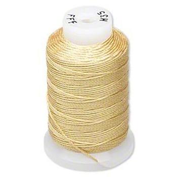 Silk Beading Thread Cord Size Fff (0.016 Inch 0.42mm) Spool 92 Yd(Gold) 5067Bs