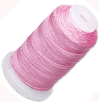 Simply Silk Beading Thick Thread Cord Size FFF (0.016 Inch 0.42mm) Spool 92 Yards Compatible with Kumihimo Super Lon (Strawberry Pink)