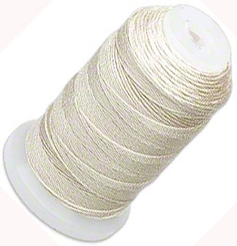 Silk Beading Thread Cord Size FFF (0.016 Inch 0.42mm) Spool 92 Yd(Ecru)