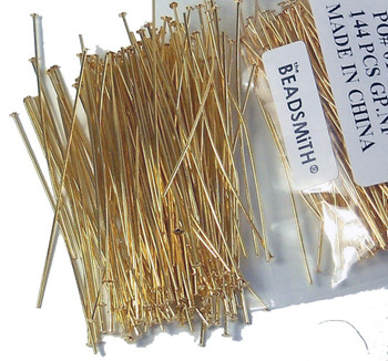 400 Head Pins 020Dia x 1 Inch Gold Plated Thin 24 Gauge Wire Hdp0201Gp