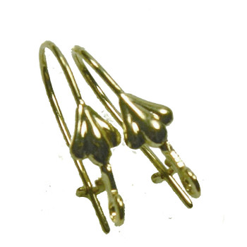 48 Leaver Back Kidney Style Gold-Plated Brass 18mm Earwires Open Loop 22 Ga 24 Pairs 8526Fd