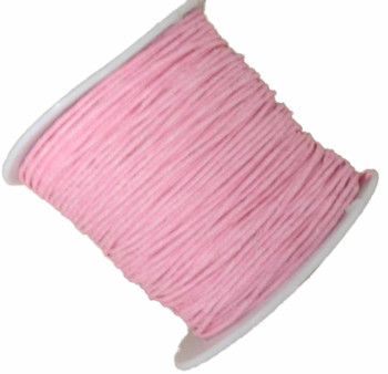 1mm Waxed Cotton Jewelry Macrame Craft Cord 80 Yards Wolven Round Pink Gt-080219071505-1Pk