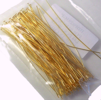 144 Head Pins 029Dia x 3 Inch Gold Plated St Ard 21 Gauge Wire Hdp0293Gp