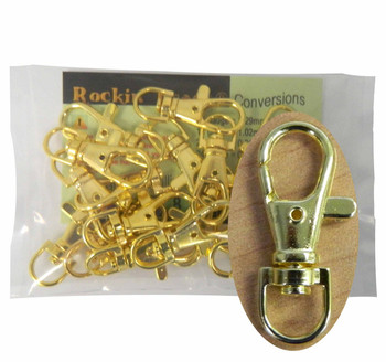 20 Gold Plated Lobster Claw Swivel Clasps For Key Ring 1 3/8 x 1/2 Inch Rb-070123062027-Gp