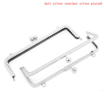 2 Silver Tone Purse Frame Metal Bag Kiss Clasp Lock 20Cm x 8.5Cm Rb31732