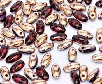Ameythist Capri Gold 2.5x6mm Rizo Beads Czech Glass Seed Beads 22 Gram Tube Rz256-20060-27101-Tb