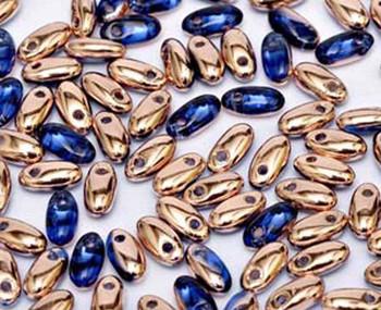 Sapphire Capri Gold 2.5x6mm Rizo Beads Czech Glass Seed Beads 22 Gram Tube Rz256-30070-27101-Tb