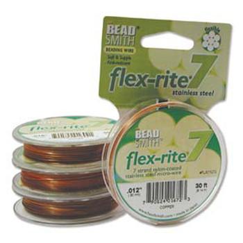 """Copper Flex Rite Beading Wire .012"""" 30' 7 Strand 8Lb Break Fl7x012Co30"""