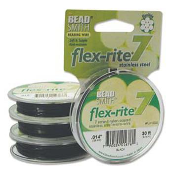 "Black Flex Rite Beading Wire .014"" 30' 7 Strand 8Lb Break Fl7x014Bk30"