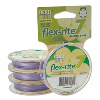 """Lavender Flex Rite Beading Wire .018"""" 30' 7 Strand 20.6Lb Break Fl7x018La30"""