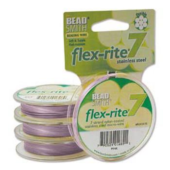"Pink Flex Rite Beading Wire .018"" 30' 7 Strand 20.6Lb Break Fl7x018Pi30"