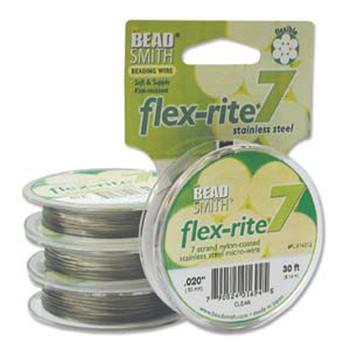 "Clear Coat Flex Rite Beading Wire .020"" 30' 7 Strand 26.9Lb Break Fl7x020Cl30"