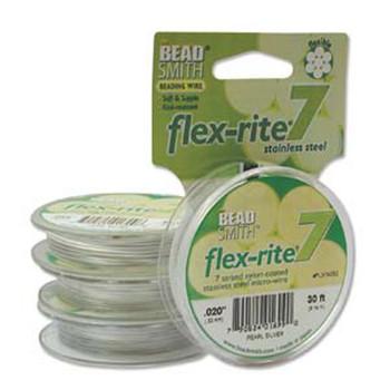 """Pearl Silver Flex Rite Beading Wire .020"""" 30' 7 Strand 26.9Lb Break Fl7x020Ps30"""