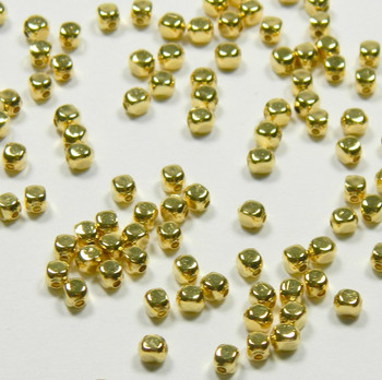 100 Beads Gold-Plated Brass 3mm Smooth Nugget Spacer Metal 2946Mb