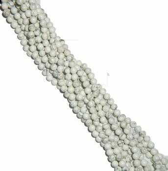 """6mm White Howlite Natural Round Beads 40Cm 15"""" Stone B2-6B9"""