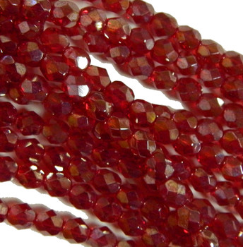 24 FirePolished Faceted Czech Glass Beads 6mm Luster Ruby L9008