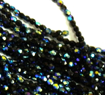 48 FirePolished Faceted Czech Glass Beads 4mm Ab Jet S1-04x-2398