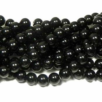 "12mm Synthetic Black Onyx Round Hardened Glass Beads 40Cm 15"" Strand B2-12B65"