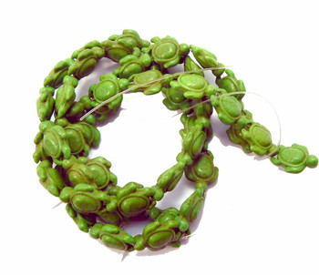 "Green 15x18mm Turtle Chalk Turquoise Dyed Mix  Beads 15"" of Strand"