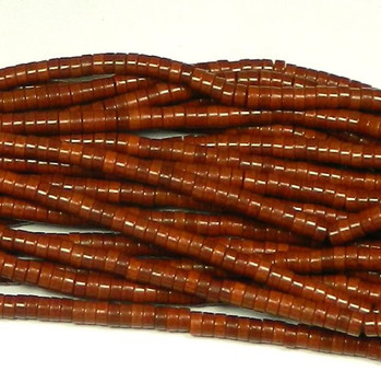 """6mm Heishi Chalk Turquoise Dyed Coffee Brown Beads 15"""" B2-T546C"""
